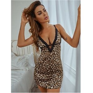 Lace Detail Cheetah Cami Night Slip Dress
